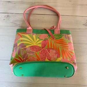 Lilly Pulitzer Pink Frog Palm Tree Canvas Tote Bag